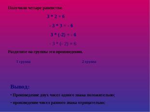 Получили четыре равенства: 3 * 2 = 6 - 3 * 3 = - 6 3 * (-2) = - 6 - 3 * (- 2)