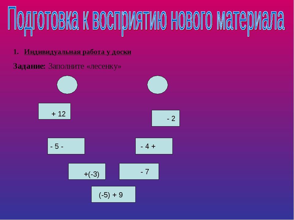 Индивидуальная работа у доски Задание: Заполните «лесенку» + 12 - 5 - +(-3) (...