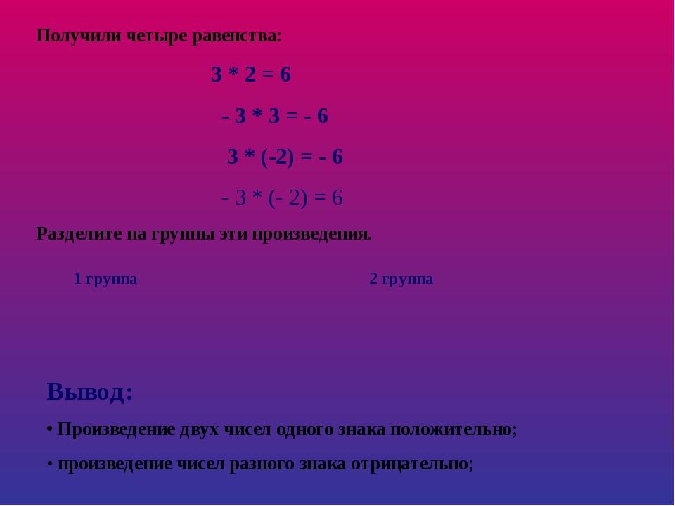 Получили четыре равенства: 3 * 2 = 6 - 3 * 3 = - 6 3 * (-2) = - 6 - 3 * (- 2)...