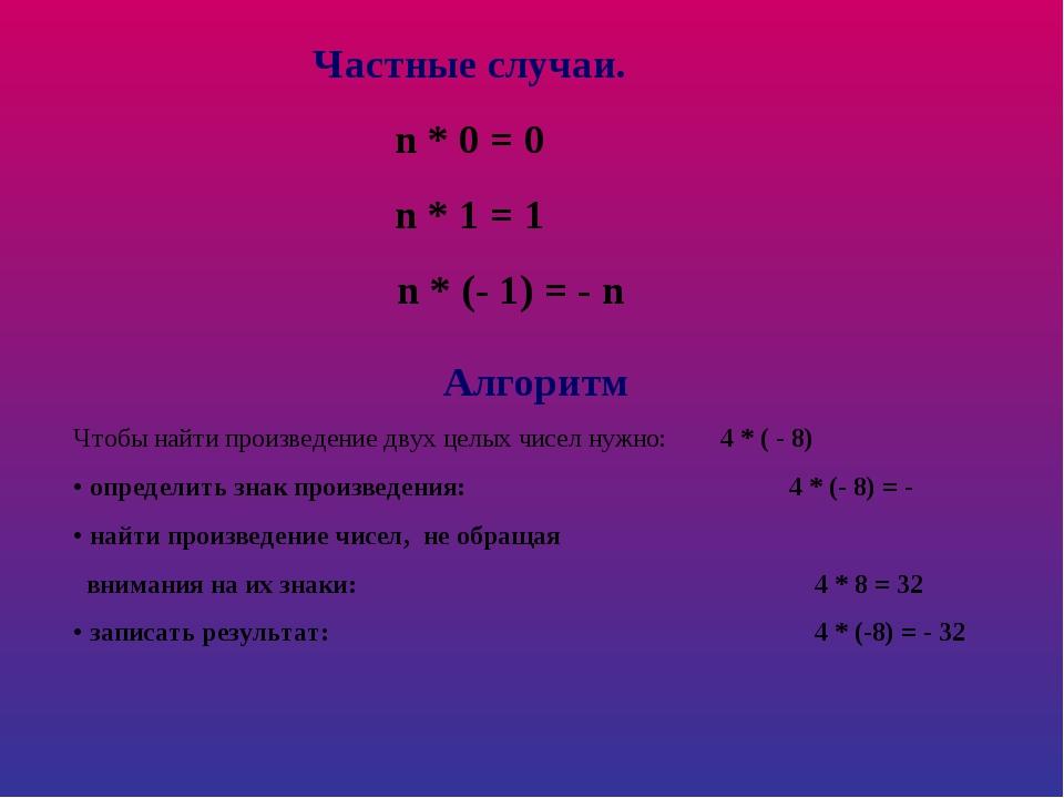 Частные случаи. n * 0 = 0 n * 1 = 1 n * (- 1) = - n Алгоритм Чтобы найти прои...