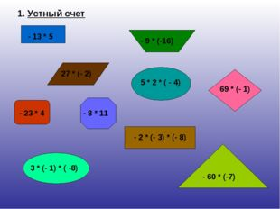 1. Устный счет - 13 * 5 27 * (- 2) - 9 * (-16) 69 * (- 1) - 23 * 4 - 8 * 11 -