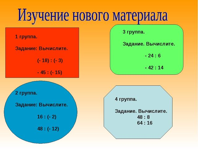 1 группа. Задание: Вычислите. (- 18) : (- 3) - 45 : (- 15) 2 группа. Задание...