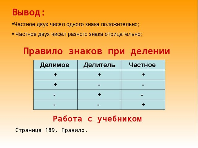 Правило знаков при делении Вывод: Частное двух чисел одного знака положительн...