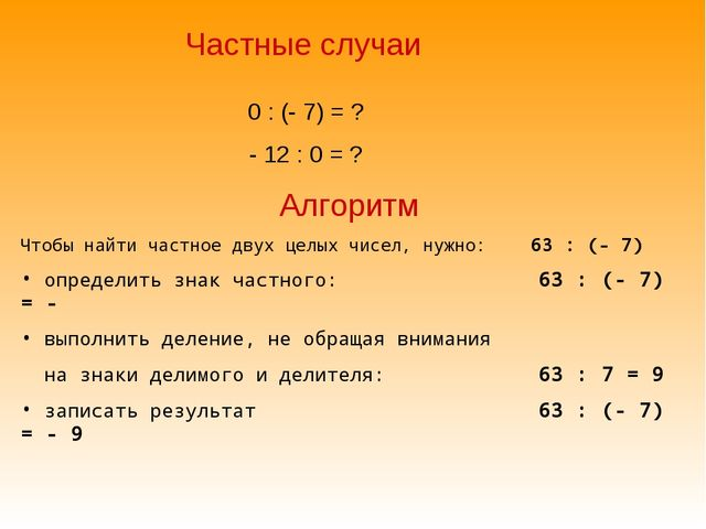 Частные случаи 0 : (- 7) = ? - 12 : 0 = ? Алгоритм Чтобы найти частное двух ц...