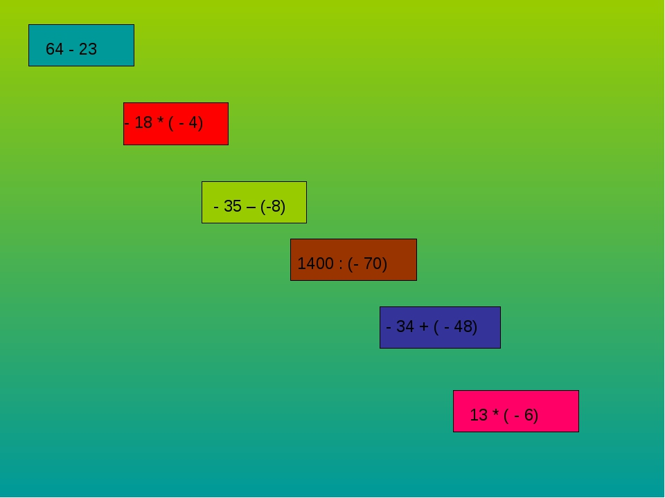 64 - 23 - 18 * ( - 4) - 35 – (-8) 1400 : (- 70) - 34 + ( - 48) 13 * ( - 6)