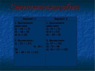 Вариант 1.Вариант 2. 1. Выполните действия а) – 24 + (-5) б) – 48 + 48 в) 5+