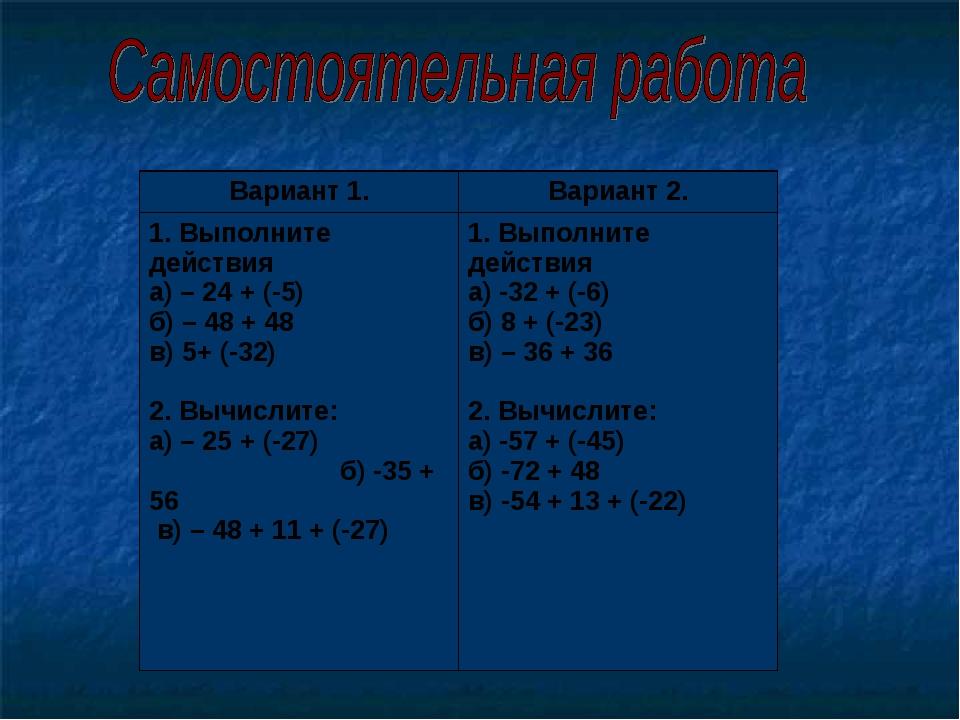 Вариант 1.Вариант 2. 1. Выполните действия а) – 24 + (-5) б) – 48 + 48 в) 5+...