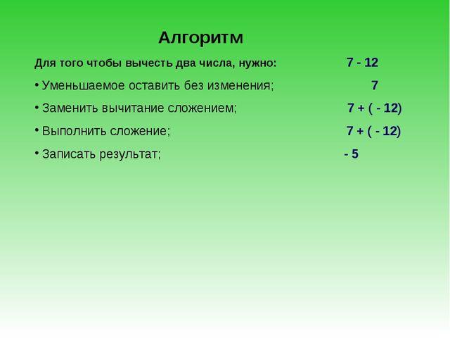 Алгоритм Для того чтобы вычесть два числа, нужно: 7 - 12 Уменьшаемое оставить...