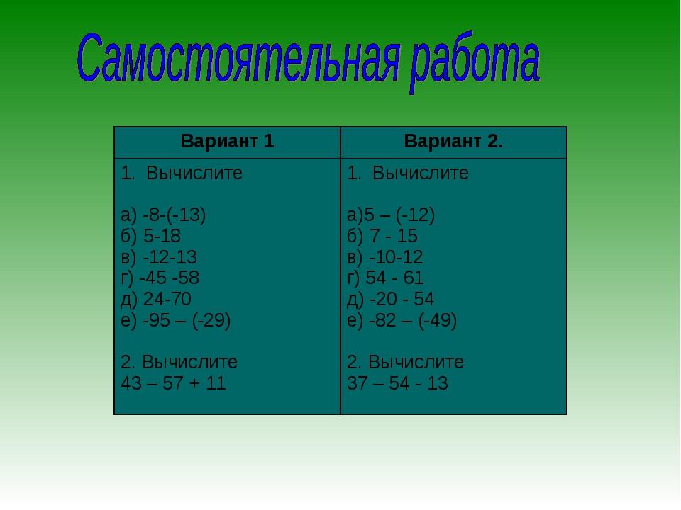 Вариант 1Вариант 2. Вычислите а) -8-(-13) б) 5-18 в) -12-13 г) -45 -58 д) 24...