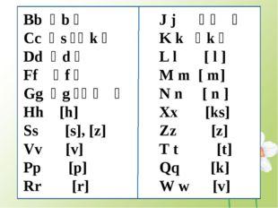 J j [ʤ] K k [k] L l [ l ] M m [ m] N n [ n ] Xx [ks] Zz [z] T t [t] Qq [