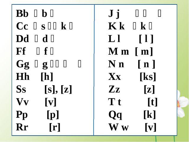 J j [ʤ] K k [k] L l [ l ] M m [ m] N n [ n ] Xx [ks] Zz [z] T t [t] Qq [...