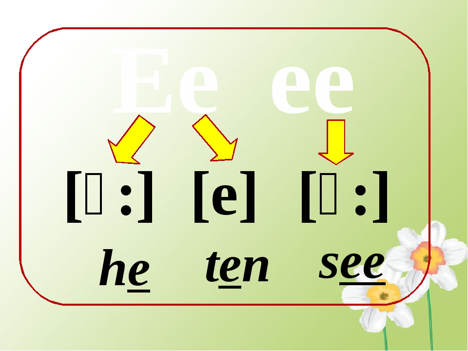 Ee ee [e] [ɪ:] [ɪ:] he ten see