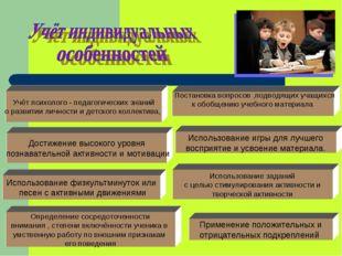 Учёт психолого - педагогических знаний о развитии личности и детского коллект