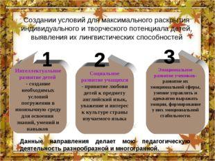 Создании условий для максимального раскрытия индивидуального и творческого по