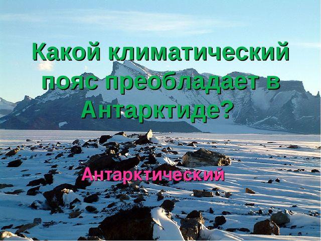Какой климатический пояс преобладает в Антарктиде? Антарктический