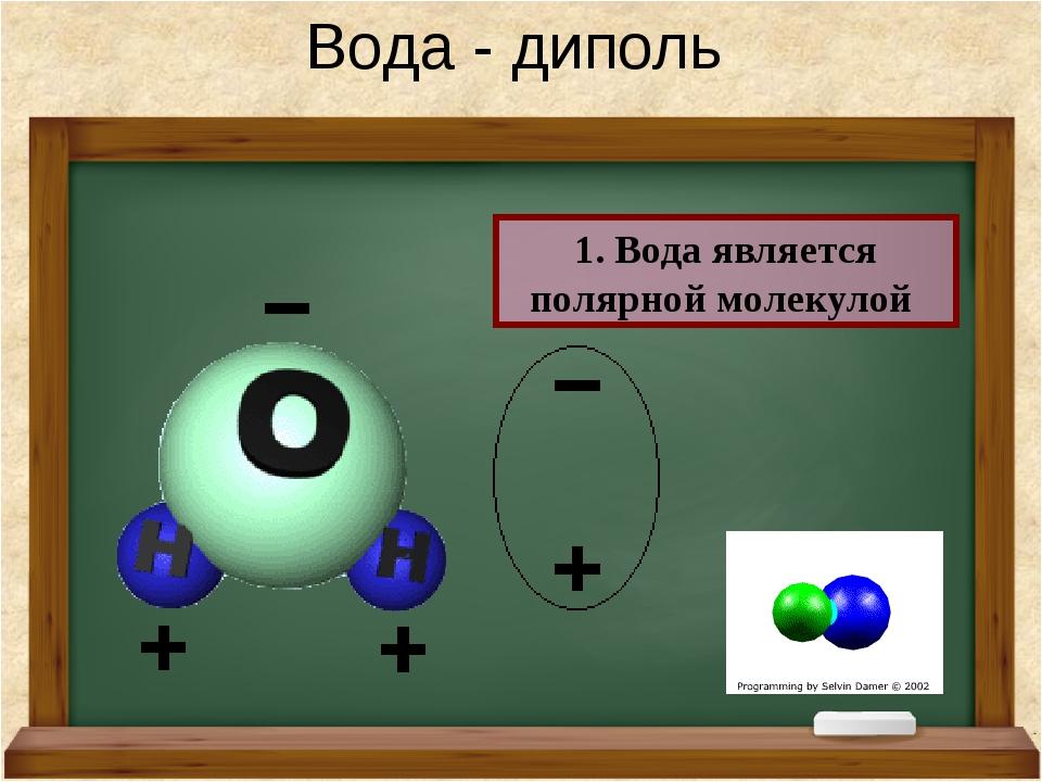 Вода - диполь 1. Вода является полярной молекулой