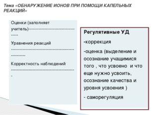 Тема «ОБНАРУЖЕНИЕ ИОНОВ ПРИ ПОМОЩИ КАПЕЛЬНЫХ РЕАКЦИЙ» Оценки (заполняетучител