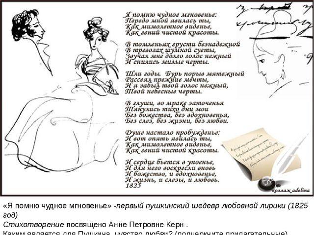 «Я помню чудное мгновенье» -первый пушкинский шедевр любовной лирики (1825 г...