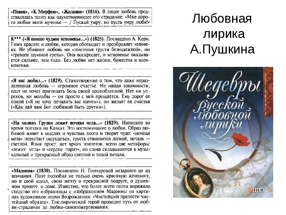 Любовная лирика А.Пушкина