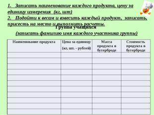 Группа учащихся (записать фамилию имя каждого участника группы) 1. Записать н