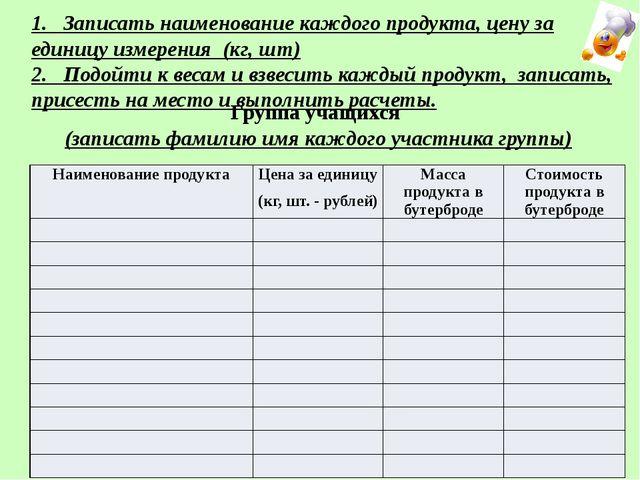 Группа учащихся (записать фамилию имя каждого участника группы) 1. Записать н...