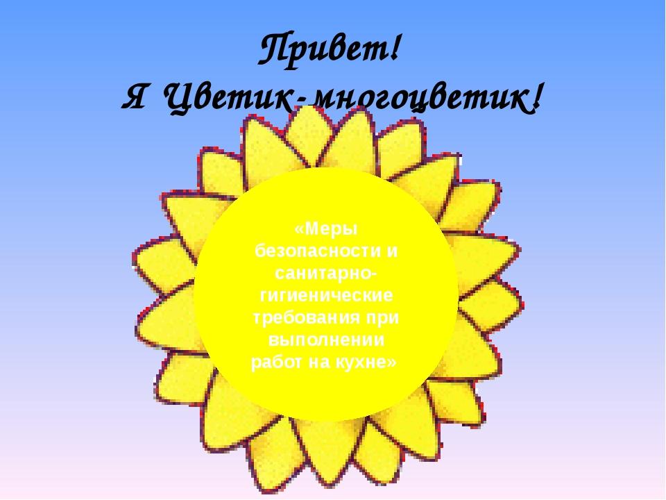 Привет! Я Цветик-многоцветик! «Меры безопасности и санитарно-гигиенические тр...