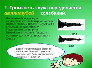 1. Громкость звука определяется амплитудой колебаний. Исследовались два звука