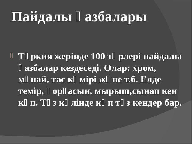 Пайдалы қазбалары Түркия жерінде 100 түрлері пайдалы қазбалар кездеседі. Олар...