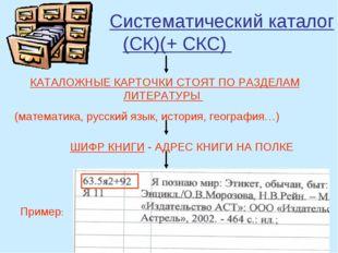 Систематический каталог (СК)(+ СКС) КАТАЛОЖНЫЕ КАРТОЧКИ СТОЯТ ПО РАЗДЕЛАМ ЛИ