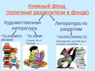 Книжный фонд (полочные разделители в фонде) Художественная литература Литерат
