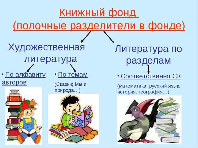 Книжный фонд (полочные разделители в фонде) Художественная литература Литерат...