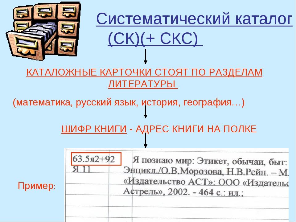 Систематический каталог (СК)(+ СКС) КАТАЛОЖНЫЕ КАРТОЧКИ СТОЯТ ПО РАЗДЕЛАМ ЛИ...