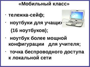 «Мобильный класс» тележка-сейф; ноутбуки для учащихся (16 ноутбуков); ноутбук
