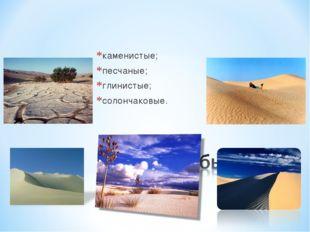 каменистые; песчаные; глинистые; солончаковые.