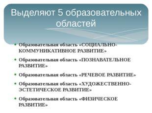 Выделяют 5 образовательных областей Образовательная область «СОЦИАЛЬНО-КОММУН