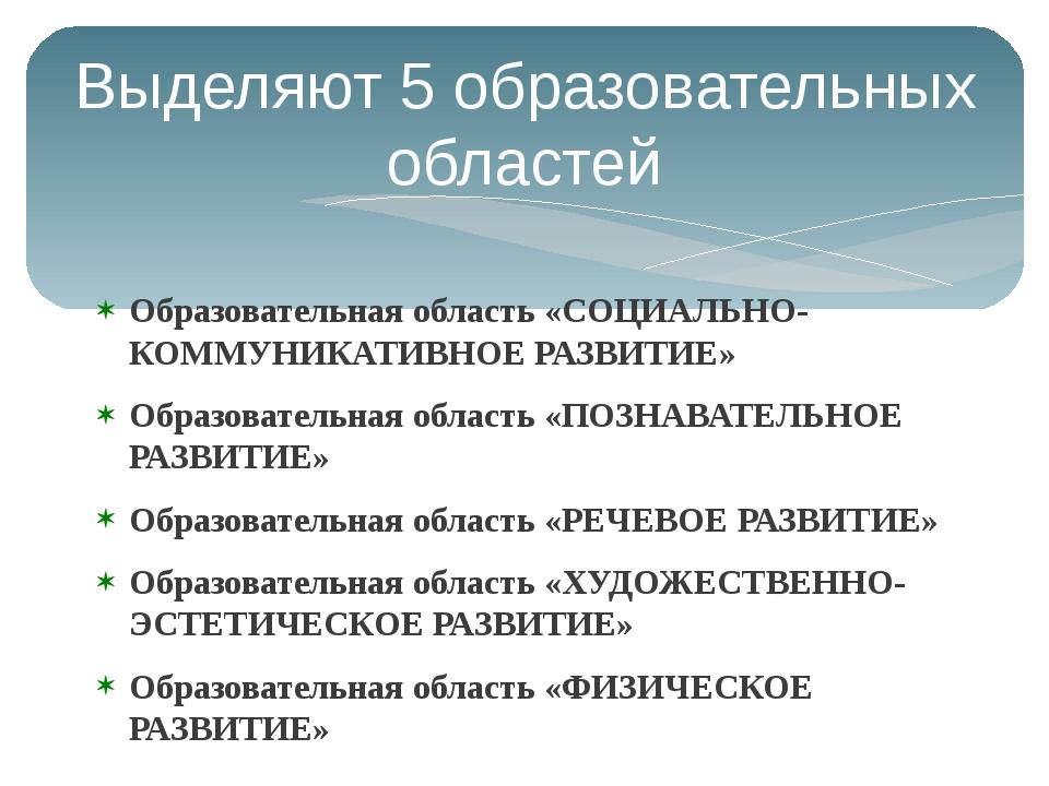Выделяют 5 образовательных областей Образовательная область «СОЦИАЛЬНО-КОММУН...