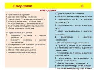 1 вариант 2 вариант  9. При изобарном нагревании: А. давление и температура