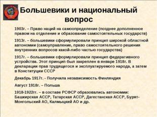Большевики и национальный вопрос 1903г. – Право наций на самоопределение (поз