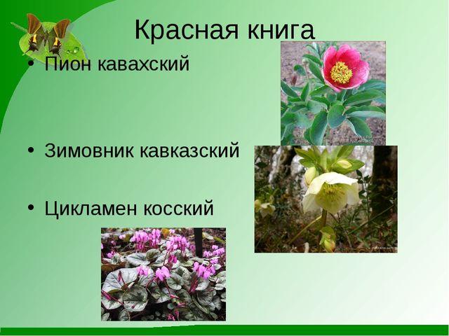 Красная книга Пион кавахский Зимовник кавказский Цикламен косский