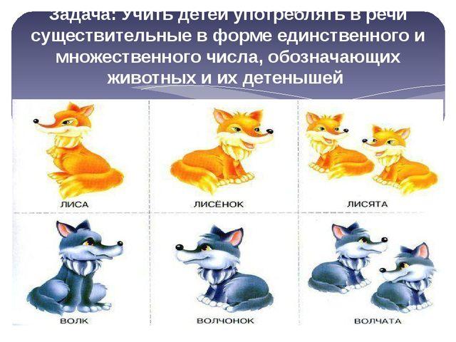 Задача: Учить детей употреблять в речи существительные в форме единственного...