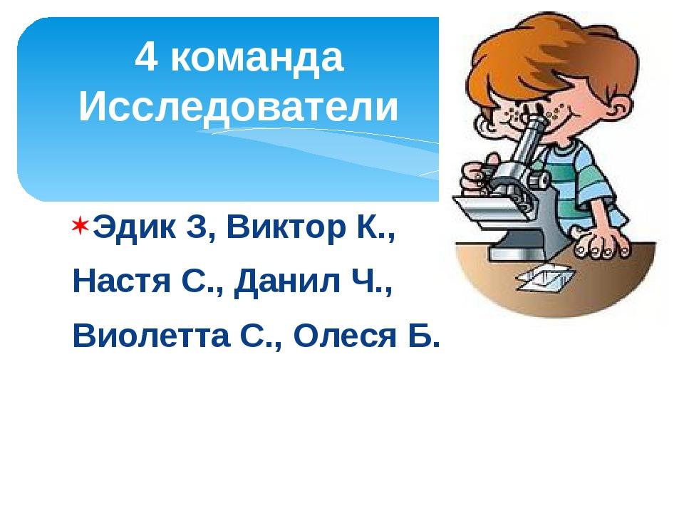 Эдик З, Виктор К., Настя С., Данил Ч., Виолетта С., Олеся Б. 4 команда Исслед...