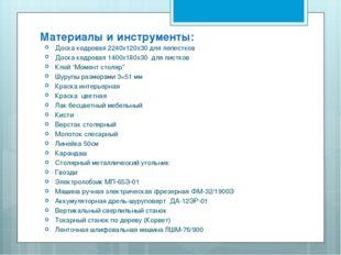 Материалы и инструменты: Доска кедровая 2240x120x30 для лепестков Доска кедро