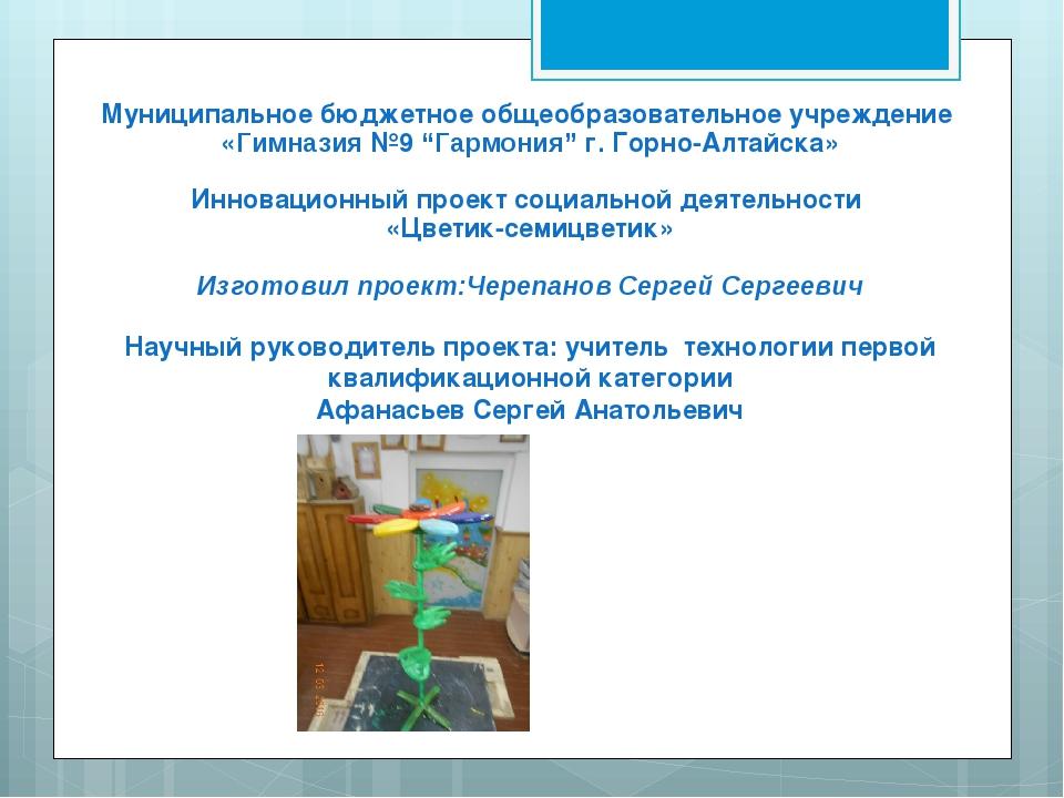 """Муниципальное бюджетное общеобразовательное учреждение «Гимназия №9 """"Гармония..."""