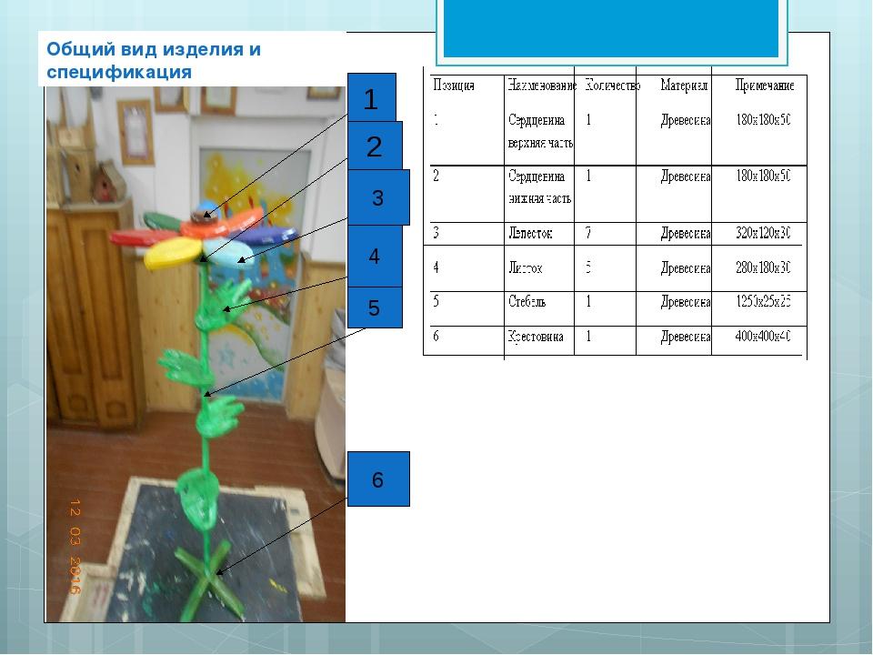 1 2 3 4 5 6 Общий вид изделия и спецификация