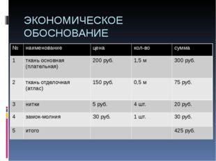 ЭКОНОМИЧЕСКОЕ ОБОСНОВАНИЕ № наименование цена кол-во сумма 1 ткань основная (