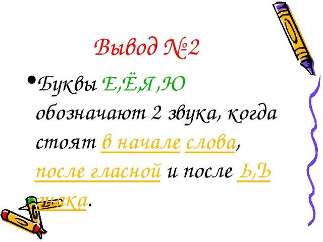 Вывод № 2 Буквы Е,Ё,Я,Ю обозначают 2 звука, когда стоят в начале слова, после...