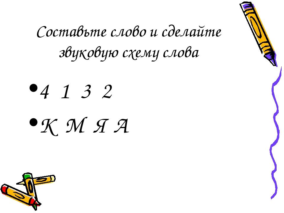Составьте слово и сделайте звуковую схему слова 4 1 3 2 К М Я А