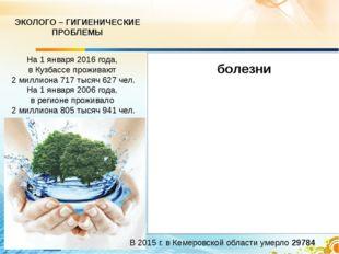 ЭКОЛОГО – ГИГИЕНИЧЕСКИЕ ПРОБЛЕМЫ На 1 января 2016 года, в Кузбассе проживают