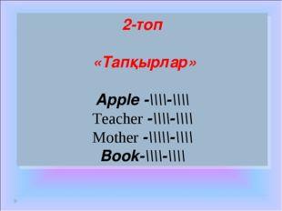 2-топ «Тапқырлар» Apple -\\\\-\\\\ Teacher -\\\\-\\\\ Mother -\\\\\-\\\\ Book
