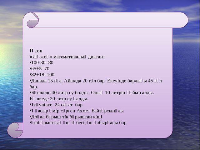 ІІ топ «Иә-жоқ» математикалық диктант 100-30=80 65+5=70 82+18=100 Данада 15 г...